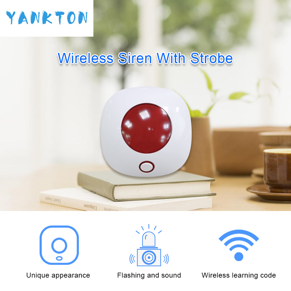 Tuya 433MHZ Indoor Wireless Strobe Siren For Home And Business Security Alarm System Kit Siren Alarm In Our Store Alarm System