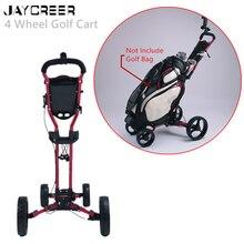 Jaycreer 4 Wielen Draagbare Vouwen Push Pull Golfkarretjes Defult Kleur Zwart Willekeurige Kleur Schip