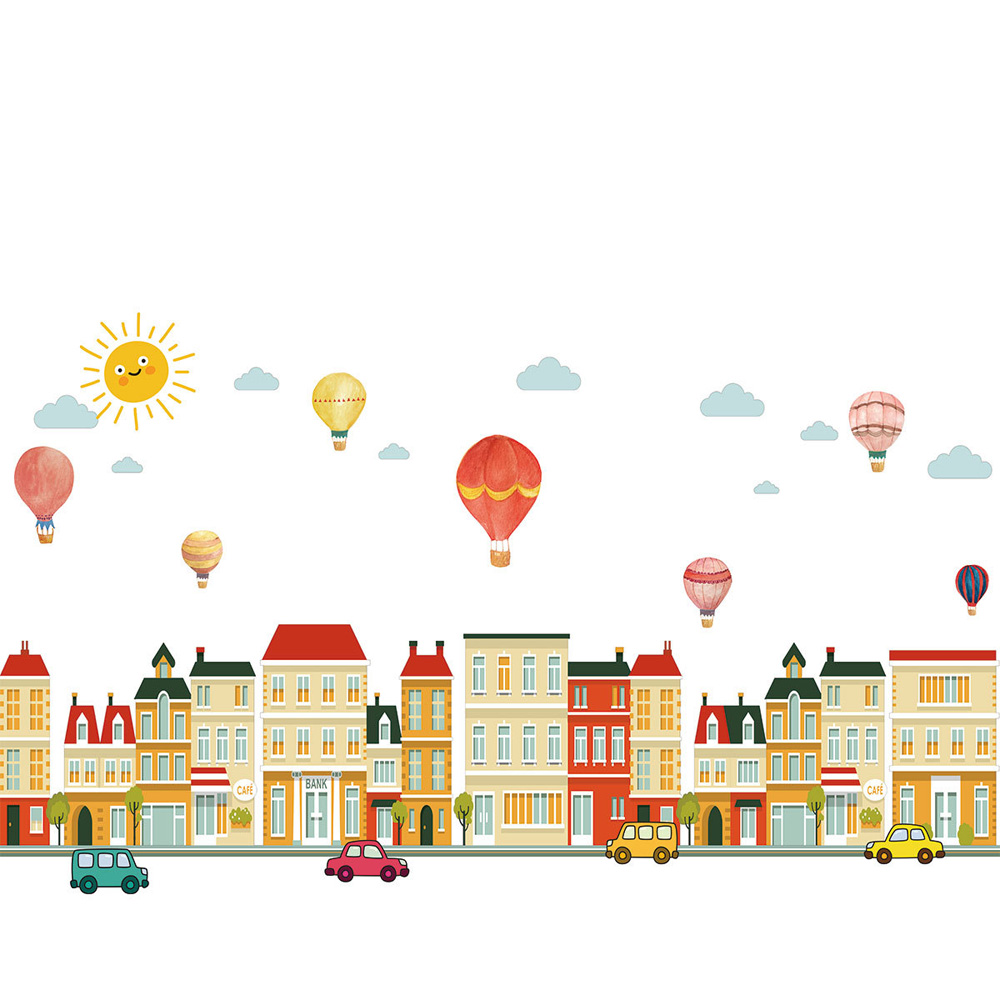 Building Car Hot Air Balloon Wall Sticker For Baby Rooms Bedroom Decorations Home Wallpaper Nursery Mural Kids Room Stickers
