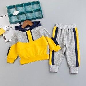 Image 1 - Комплект одежды для маленьких мальчиков, хлопковый спортивный костюм, штаны, пальто с капюшоном, комплект из 2 предметов, детский спортивный костюм, одежда для девочек, цветная строчка
