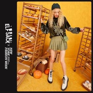 Image 2 - ELFSACK ירוק חזיר הדפסת גולף מזדמן קטיפה סווטשירט נשים חולצות 2019 סתיו Streetwear Oversize נקבה חולצות