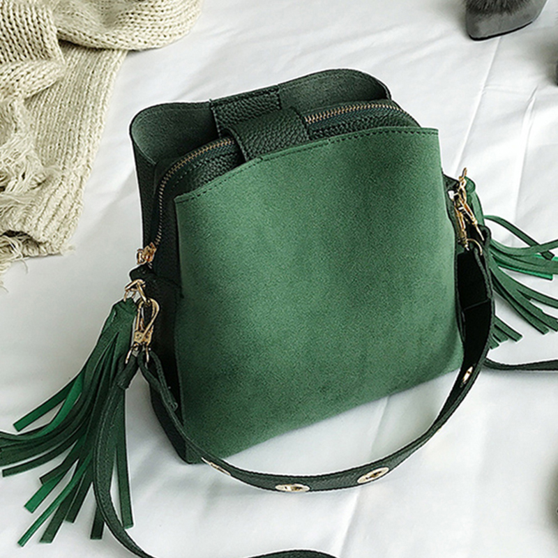 2019 New Fashion Scrub Women Bucket Bag Vintage Tassel Messenger Bag High Quality Retro Shoulder Bag Simple Crossbody Bag Tote