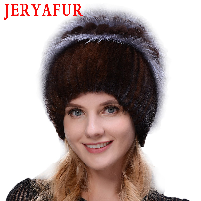 JERYAFUR New Style Rabbit Fur Hat Knitted Wool Fashion Mink And Fox Fur Hat Winter Women's Trip Ski Hat Protects Ears Russian