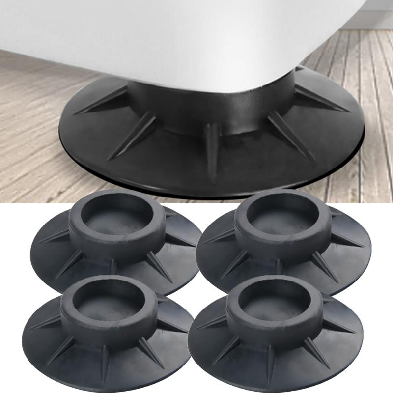 4Pcs Shock Proof Floor Mat Elasticity Black Protectors Furniture Anti Vibration Rubber Feet Pads Washing Machine Non Slip