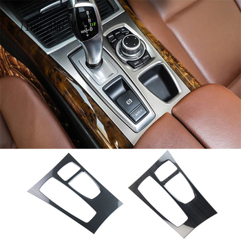 цена на Car Styling Interior Carbon fiber Gear Control Panel cover Cup Holder Frame Trim Auto Stickers For BMW X5 X6 E70 E71 Accessories