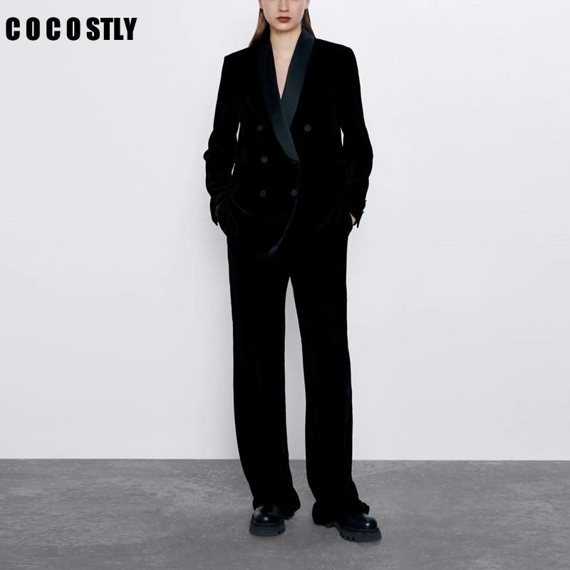 Velvet Ladies Pant Suits Women's Black Double-breasted Temperament Suit Two-piece Suit Blazers + Trousers Suit 2 Pieces Set