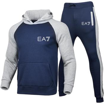 New 2020 Brand Tracksuit Fashion Men Sportswear Two Piece Sets All Cotton Fleece Thick hoodie+Pants Sporting Suit Male men tracksuit cotton gyms suit sportswear two piece outfits fleece thick hoodie trousers jackets