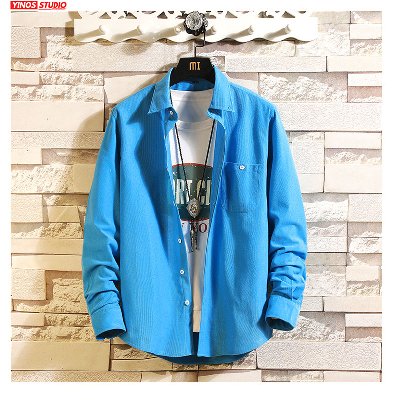 Dropshipping Men Streetwear Solid Shirts Male Fashion Long Sleeve Shirts 2019 Mens Japanese Slim Casual Shirts