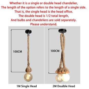 Retro Hemp Rope Pendant Light AC90-260V Vintage E27 LED Light Bulb Pendant Lamp Industrial Lamp Loft Home For Decor HangLamp 2
