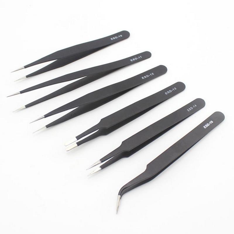 ESD Anti-static Stainless Steel Tweezers Repair Repair Tools Anti-static Model Making Tools Manual Tools Black 6 Model
