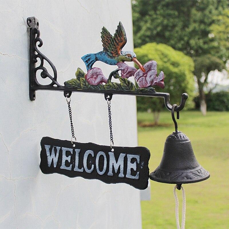 Чугунный подвесной колокольчик Колибри декоративный обеденный Звонок Птица Цветок ферма ранчо домик патио садовые ворота украшение для дв...