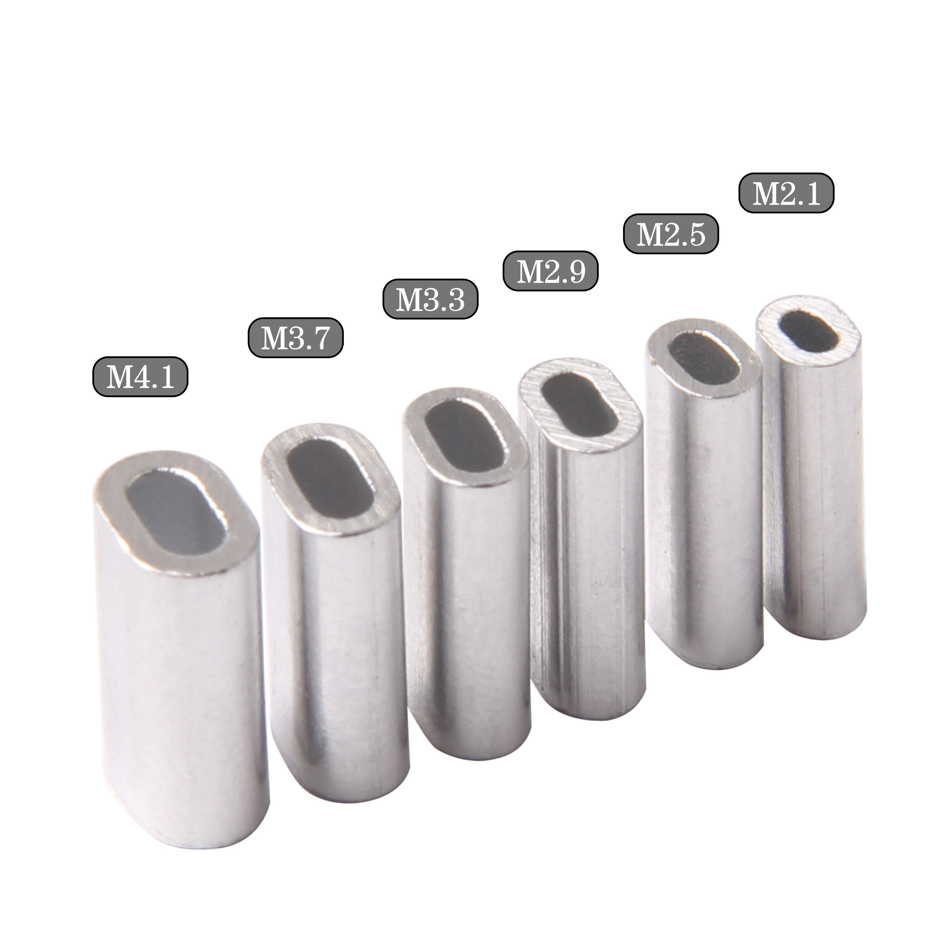 100pcs Single Aluminum Flat Fishing Tube Fishing Wire Pipe Aluminum Crimps Flat Sleeves Fishing Connector Accessories