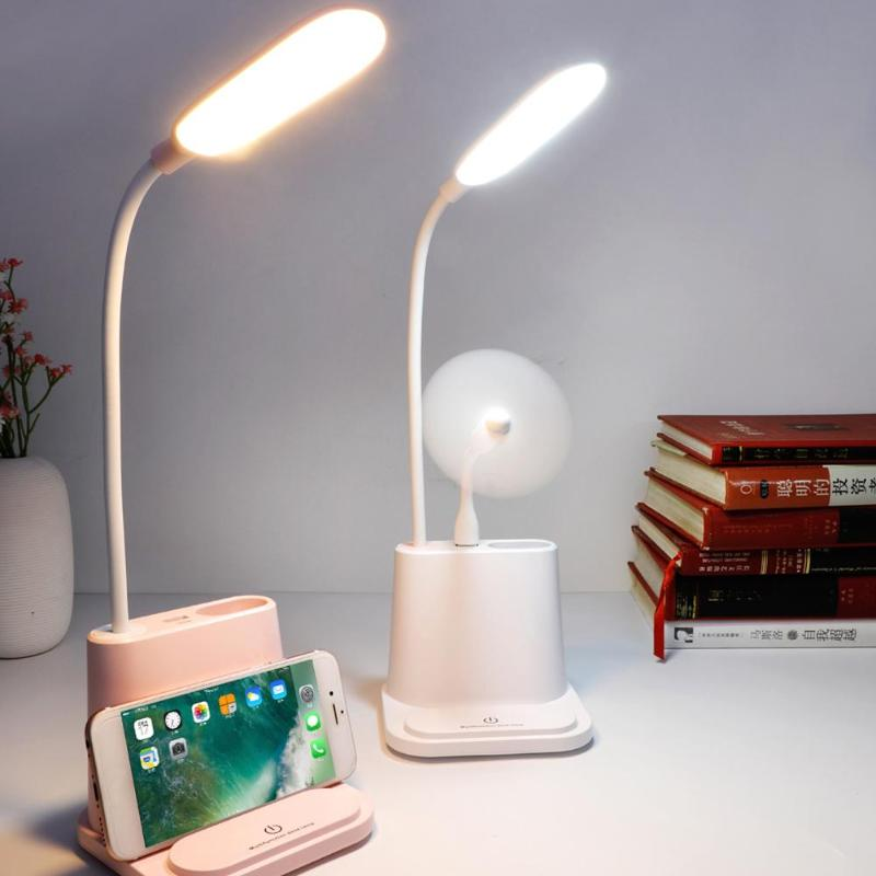2019 New USB Rechargeable Dimmable LED Desk Lamp Touch Table Light For Children Reading Mobile Phone Bracket Design For Charging