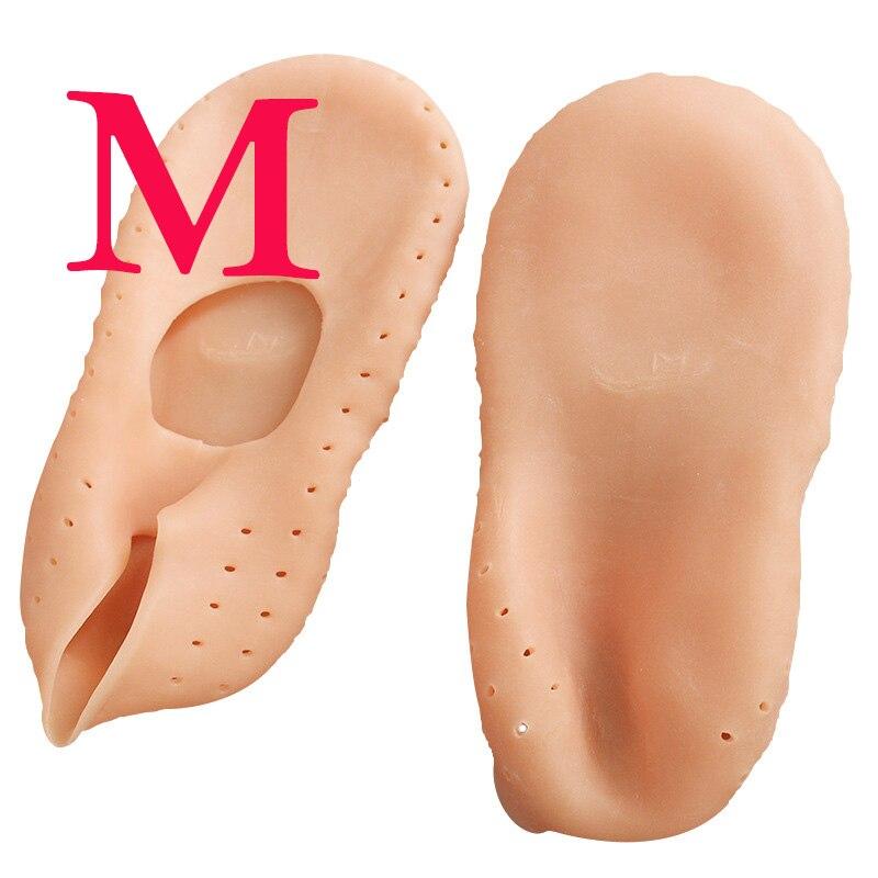 1 пара носки с гелевой подошвой, силиконовый инструмент для ухода за ногами, защита для ног, защита от боли, защита от трещин, увлажнение, удаление ороговевшей кожи, носок с отверстием - Цвет: M Skin 36-38