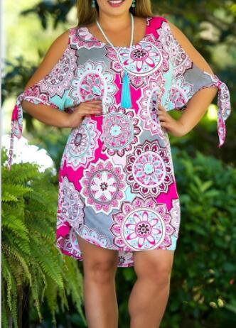 2018 Spring Summer Dresses Women's Cotton Plus Size Bandage Dress Sexy Party Off Shoulder O Neck Knee Dress Large Size XL-6XL