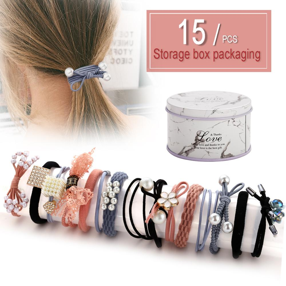 FENGLI Women Pearl Hair Bands For Girl 15 Pcs/set Geometric Hand Rubber Band Candy Colors Nylon Elastic Hair Bands Scrunchie