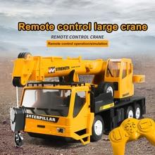 Rc Hoist Crane Model Toys For Kids Lift Construction Engineering Trucks Car Remote Control Alloy Crane Transporter Children Toy