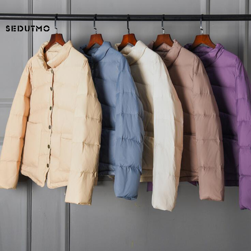 SEDUTMO Spring Ultra Light Duck Down Coat Women Thin Short Oversize Jackets Winter Slim Autumn Puffer Jacket Pocket Parkas ED926