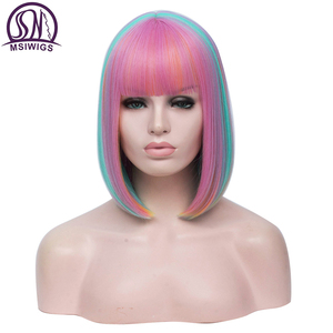 Image 3 - Msiwigs 2 トーンボボコスプレかつら女性ピンクブルーミックスストレートかつら前髪と人工毛のかつら