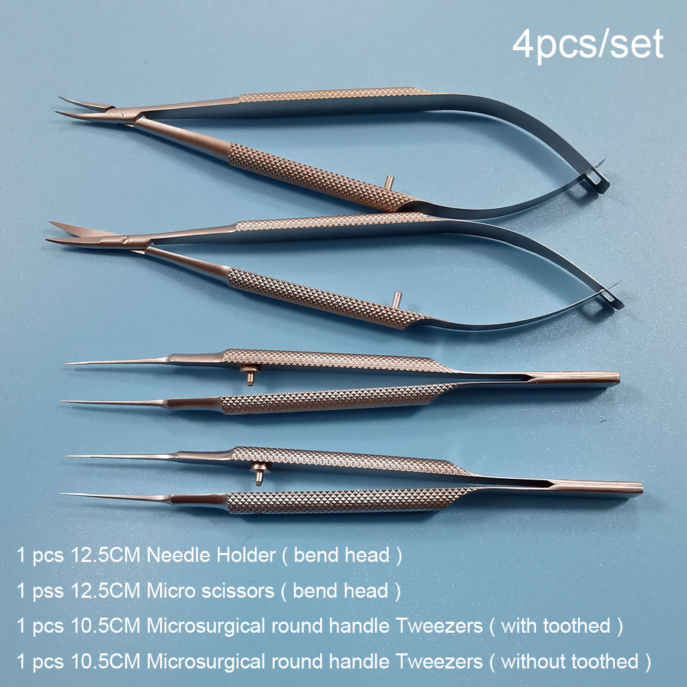 New 4pcs/set Ophthalmic Microsurgical Instruments 12.5cm Scissors+Needle Holders +tweezers Stainless Steel Surgical Tool