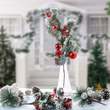 1pc Christmas Red Berry Stems Artificial Pine Picks for Home Tree Decorations Holiday Party Festival Room Ornaments