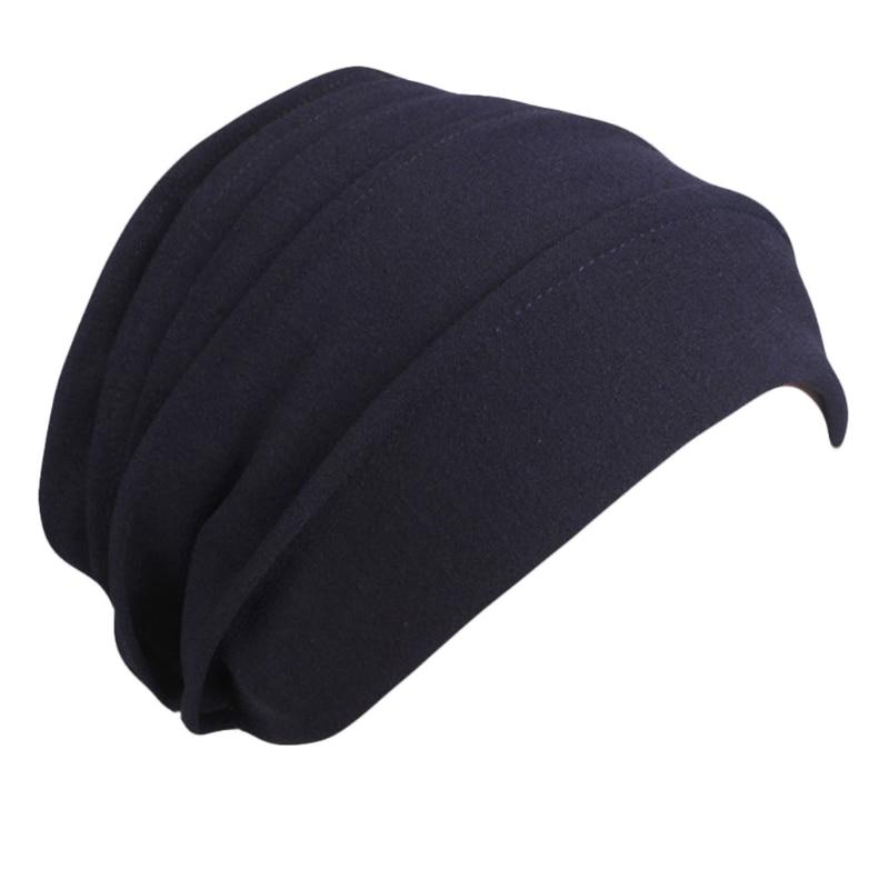 Unisex Cotton Sleep Cap Cancer Beanie Muslim Turban Hair Loss Chemo Hat Pleated LX9E
