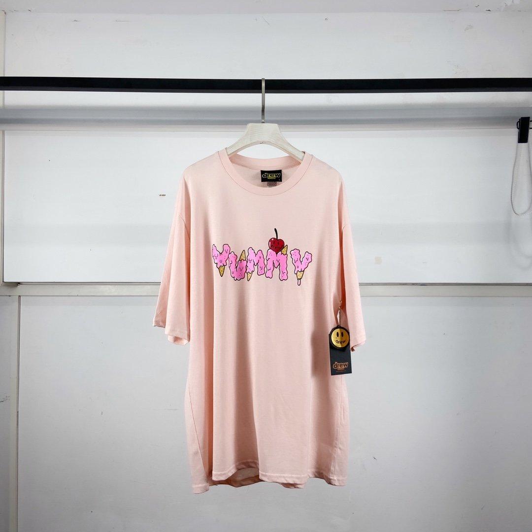 1:1 Best Quality Justin Biber Drew House Yummy Ice Cream T-Shirt Men Women Couples Cotton Pink T Shirt Men Tops Tees