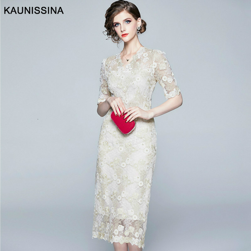 KAUNISSINA Lace Embroidery   Cocktail     Dress   V Neck Elegant Short Sleeve Bodycon Pencil Robe High Quality   Cocktail   Party   Dress   Gown