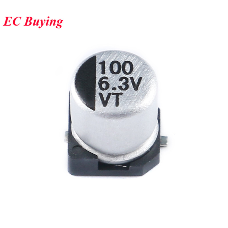 10pcs <font><b>SMD</b></font> Aluminum Electrolytic <font><b>Capacitor</b></font> 6.3V <font><b>100UF</b></font> 5*5.4mm <font><b>SMD</b></font> Electrolytic <font><b>Capacitors</b></font> 5X5.4mm image