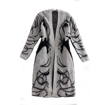 цена на Woman Grey Oversized Ethnic Trend Long Knitted Cardigan Sweater Jacket Coat Female Autumn Casual V-Neck Long Sleeve Cardigan Top