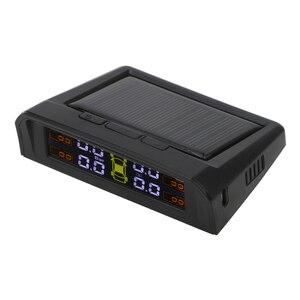 Image 2 - TPMS araba lastik BASINÇ SENSÖRLERİ HD dijital LCD ekran lastik basınç alarmı izleme sistemi otomatik Alarm USB veya güneş şarj