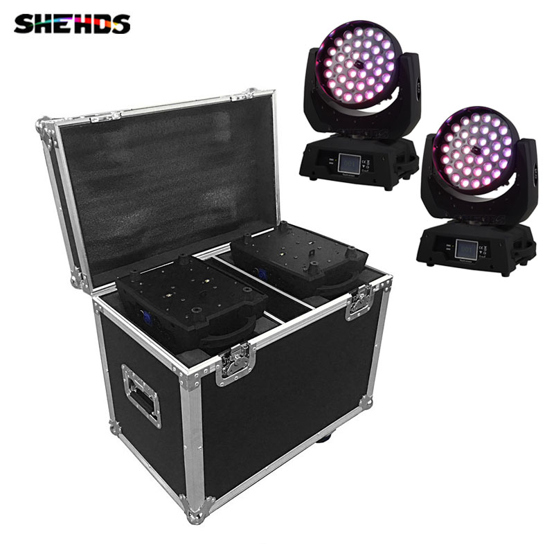 2in1 Flight Case With 2PCS Moving Head Zoom Led 19x15W RGBW 19 Eye Wash Stage Light 36x18W RGBWA UV 6in1 DMX DJ 4in1 36x12W 15W