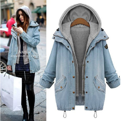 Plus Size Women's Denim Jeans Hoodie Hooded Long Coat Jacket Tops Parka Outwear