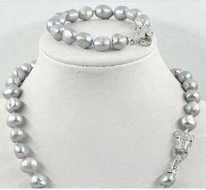 Женский леопард из натурального циркония S925, 11-12 мм, серый жемчуг барокко, ожерелье и браслет, ювелирные изделия для женщин