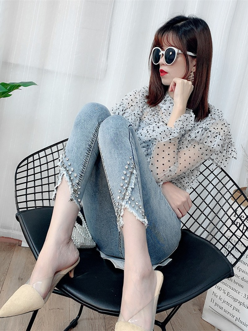 High Waist Jeans Women 2020 New Spring and Autumn Heavy Industry Chic Slim Fit Pencil Pants Womens Clothing Streetwear Plus Size