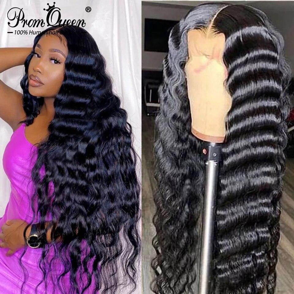 Свободные парики с глубокой волной 4x4 5x5 6x6 парики на сетке бразильские человеческие волосы парики для женщин человеческие волосы 13x6 HD Remy кру...