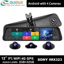 Najlepsze 12 Cal lusterko wsteczne 4-kanałowe kamery 2GB + 32GB wideorejestrator samochodowy 4G Android ADAS kamera na deskę rozdzielczą GPS Wifi kamerka samochodowa tanie tanio QUIDUX Klasa 10 128G 170 ° CN (pochodzenie) 12 v 1920x1080 12inch H 264 Jpeg 1200 mega 1920*1080 1 6kg Bluetooth Nadajnik fm