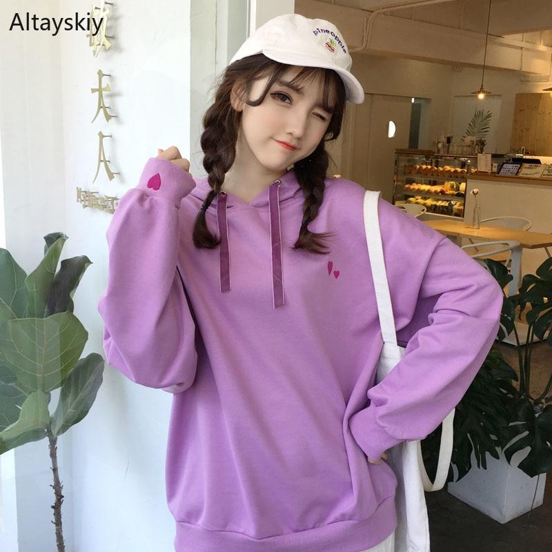 Hoodies Women Ulzzang Harajuku Lovely Sweet Simple Daily Leisure Chic Purple Korean Style Long-sleeve Kawaii 2020 Womens Girls