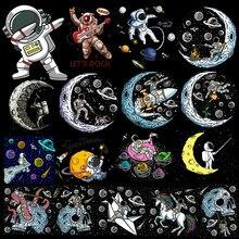 Espaço astronauta remendo ferro-em transferências para roupas lua remendos nave espacial adesivos desenhos animados remendos em roupas apliques listras