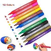 Acrylic Paint Pens Waterproof Acrylic Marker Pens Set, 12 Colors Acrylic Pens for DIY Rock,Ceramic, Wood ect.(2-3mm Medium Tip)