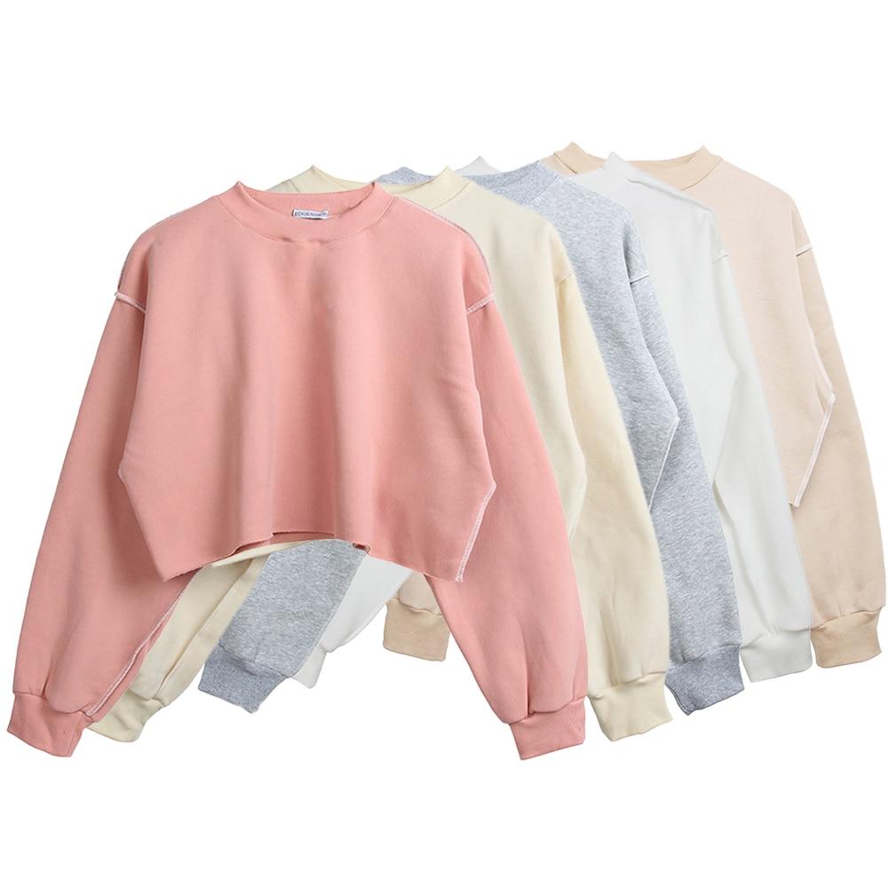 9 Colors Sweatshirts Winter Round Neck Long Sleeve Velvet Warm Sweatshirts Women Female Casual Pullover Tops Crop Top Sudadera