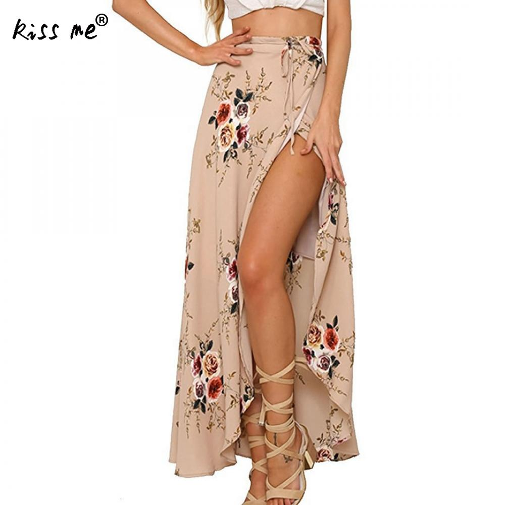 Irregular Beach Dress Long Skirts Bikini Cover Up Front Slit Women Beach Wear Summer Holiday Bohemian Style Robe Floral Printed