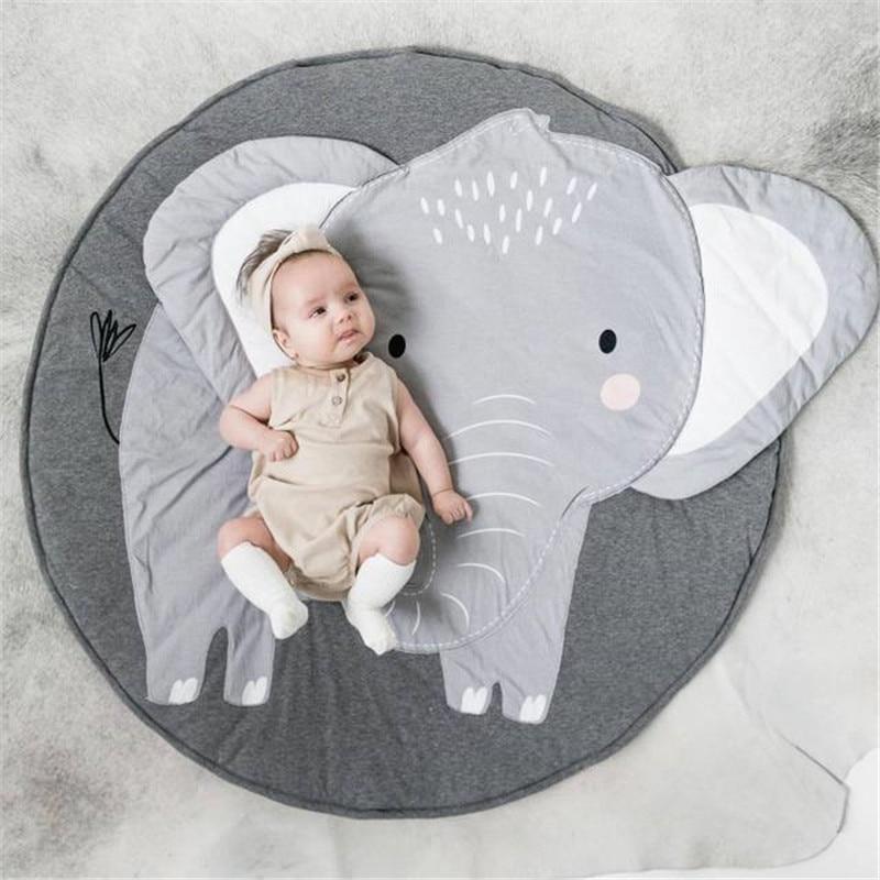 Cartoon Elephant Baby Blanket Infant Play Mats Toddler Kids Crawling Round Carpet Rug Nordic Kids Bed Room Decor Photo Props Blanket Swaddling Aliexpress