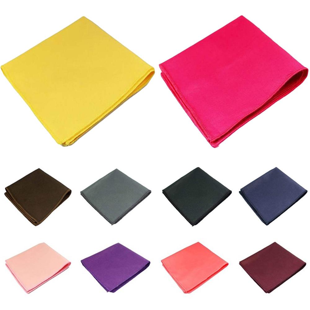 Men Classic Cotton Solid Color Pocket Square Wedding Party Handkerchief Hanky