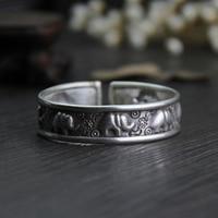 925 Sterling Silver Fashion Auspicious Elephant Bracelets Handmade Simple Trendy Opening Elephant Lady Taiyin Accessories