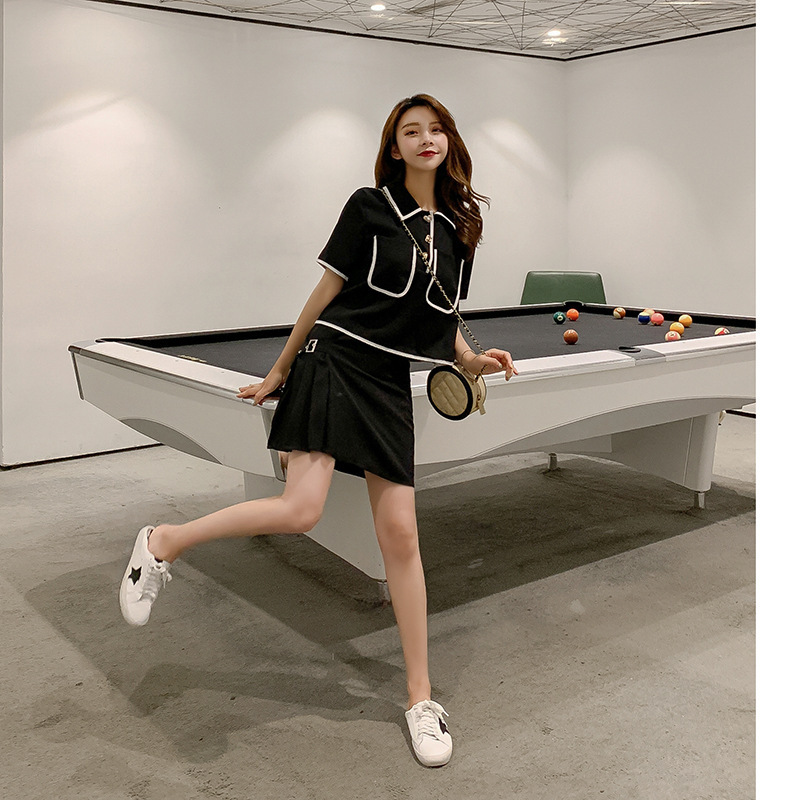 Customizable  Korean-style Summer Fashion Dress Outfit WOMEN'S T-shirt + Playful Short Skirt Two-Piece Set Students Slimming