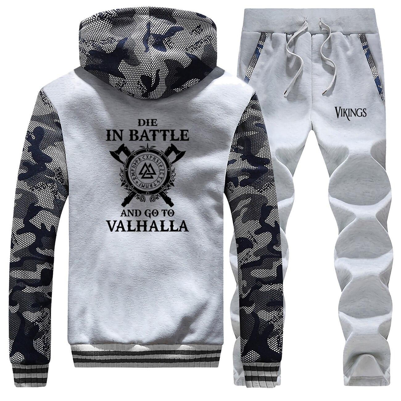 2019 Autumn Winter Hoodies Warm Suit Fashion Brand Hoodies Sweatshirt VIKINGS Men's Jackets+Pants 2 Piece Sets Men Thick Coat