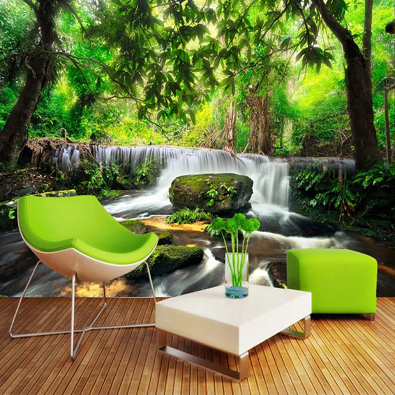 Custom 3D Photo Wallpaper Green Forest Waterfall Beautiful Natural Landscape Large Mural Living Room Bedroom Wall Decor Painting