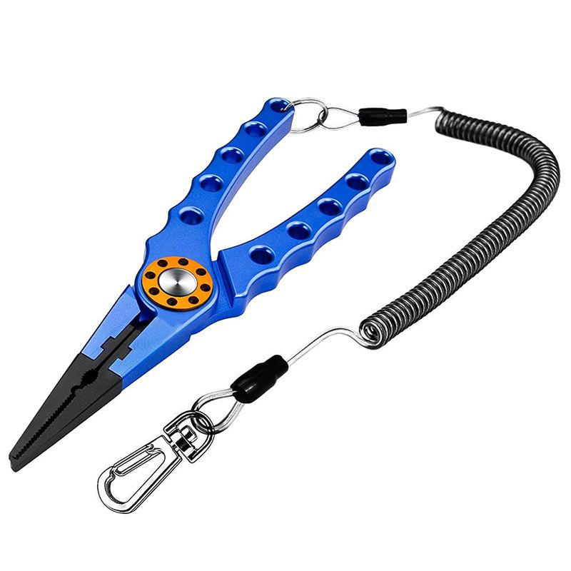 Aluminum Fishing Pliers Braid Cutters Split Ring Pliers Saltwater/Freshwater Fish Hook Remover Fish Holder with Sheath and Lanya|Fishing Tools| |  - title=