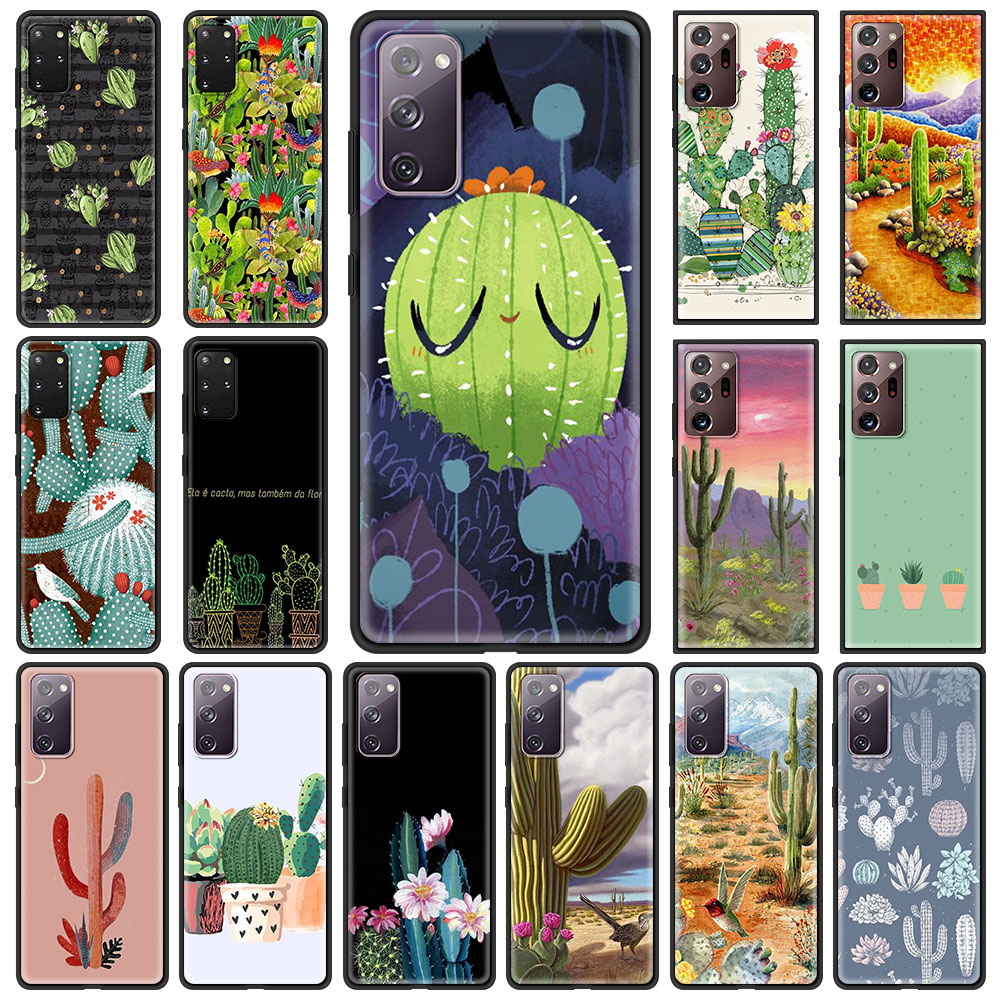 Cute Cactus Potted Plant Phone Case For Samsung Galaxy S21 S20 FE Note 20 Ultra S10 Lite S9 Plus S8 S10e Soft Cover Shell